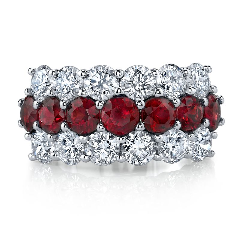 Deutsch Signature Diamond and Ruby 3 Row Band