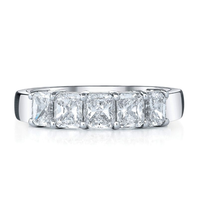 Deutsch Signature 5 Radiant Diamond Shared Prong Basket Set Band