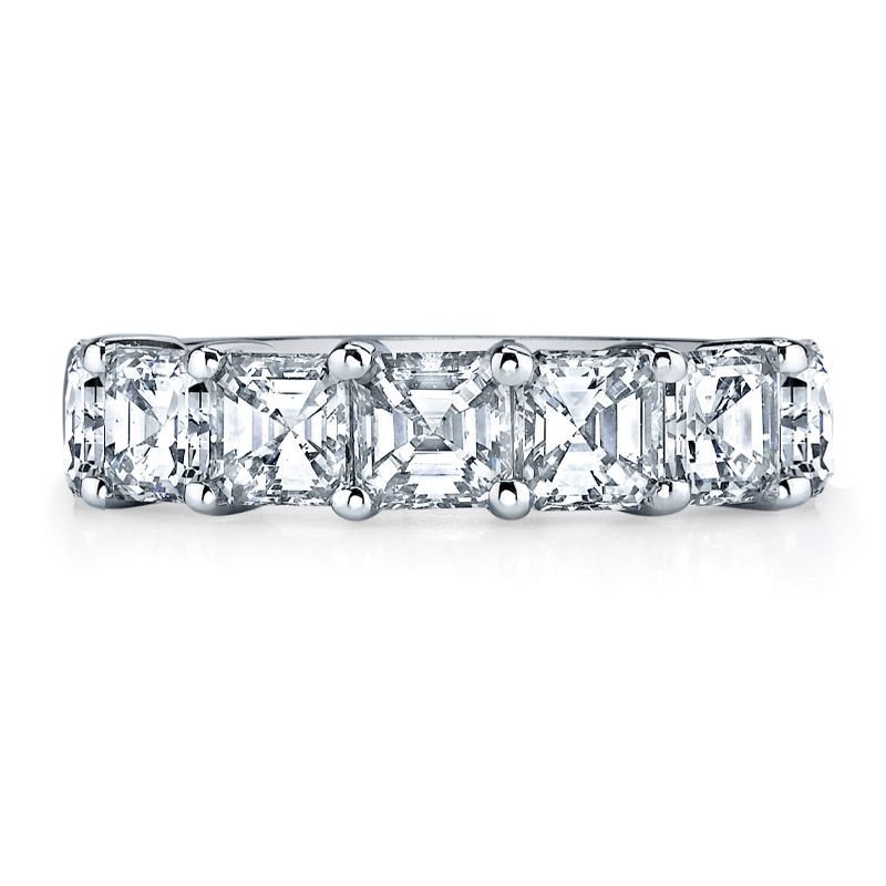 Deutsch Signature 7 Asscher Diamond Shared Prong Basket Set Band