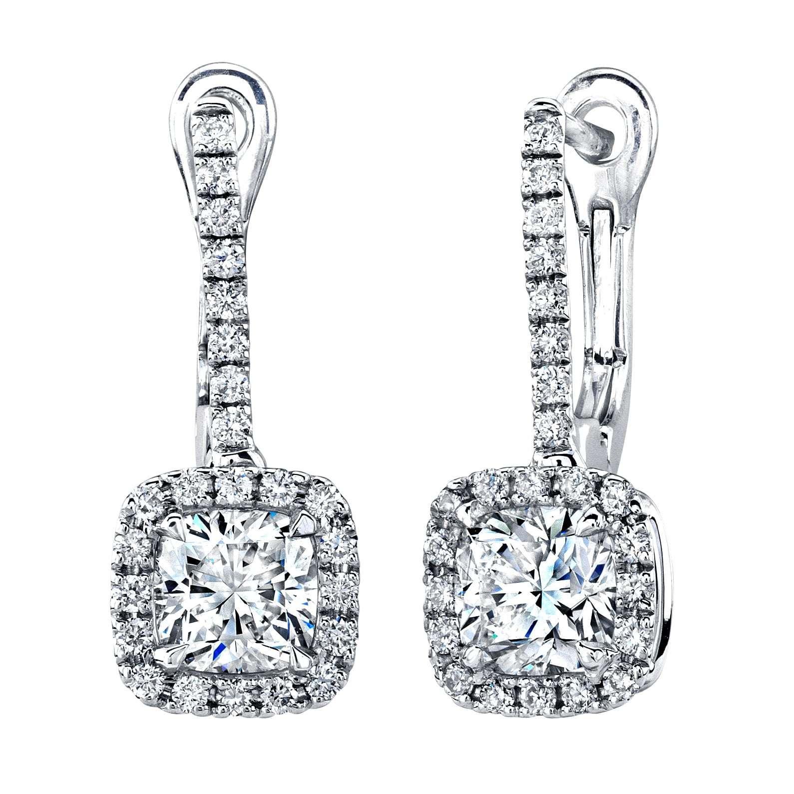 Deutsch Signature  Cushion Cut Diamond Dangle Earrings