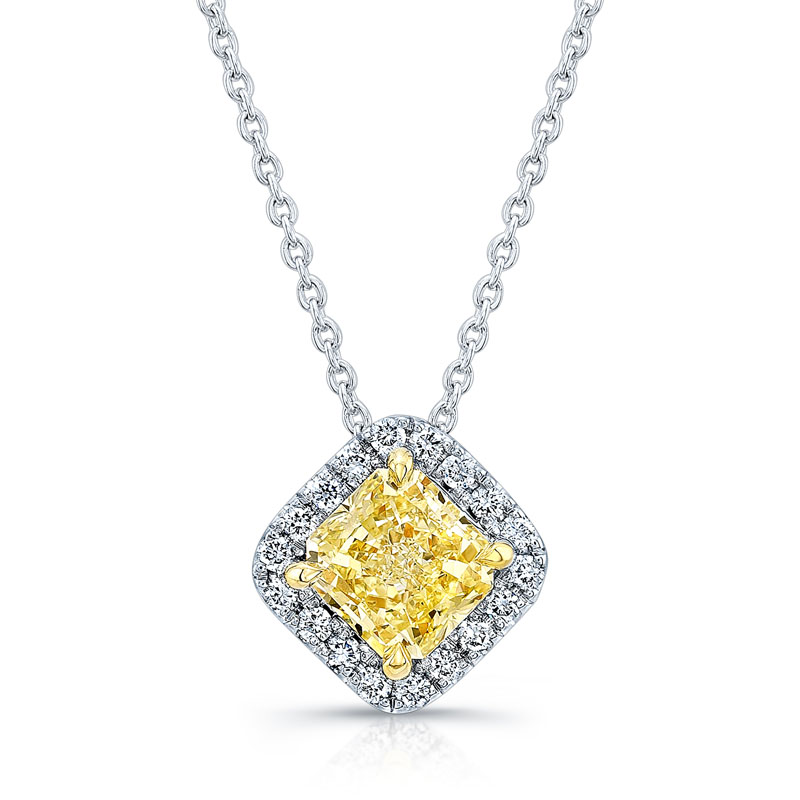 Norman Silverman Fancy Yellow Diamond and White Diamond Pendant