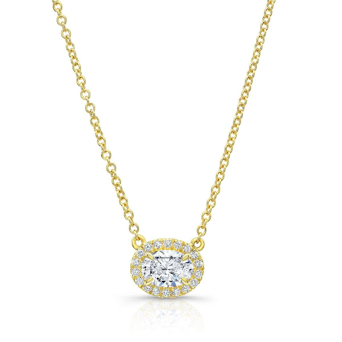 Norman Silverman Oval cut diamond Necklace with Diamond Halo