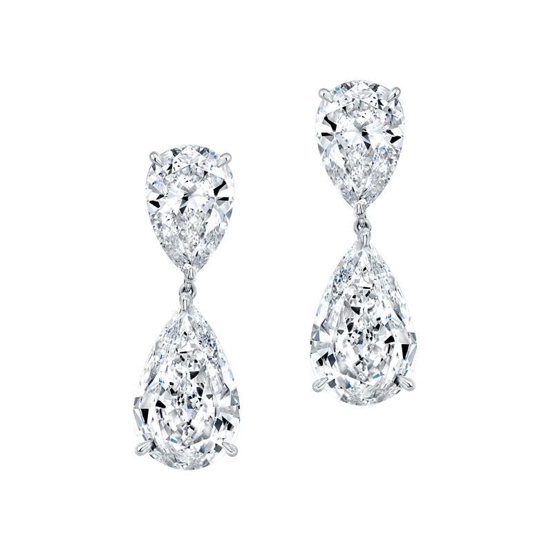 Norman Silverman Diamond Pear Dangle Earrings