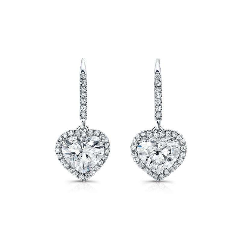 Deutsch Signature Heart-Shaped Diamond Lever Back Earrings