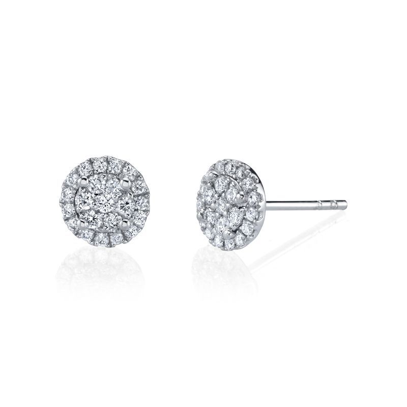 Deutsch Signature Round Halo Stud Earrings With Illusion Set Center