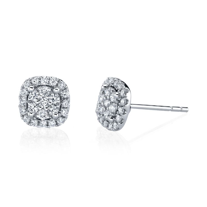 Deutsch Signature Cushion Halo Stud Earrings With An Illusion Set Round Center