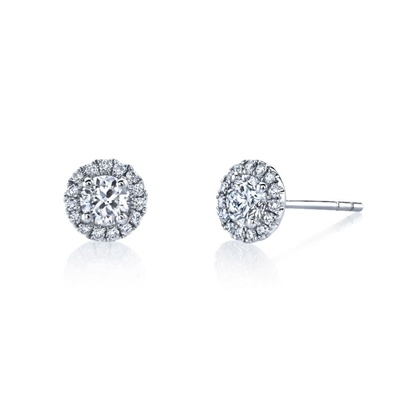 Deutsch Signature Round Halo Stud Earrings