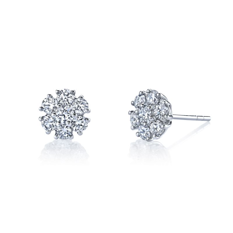 Deutsch Signature Round Diamond Flower Stud Earrings