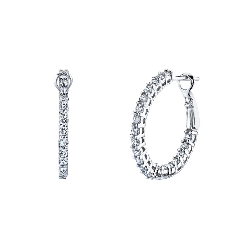 Deutsch Signature Round Double Basket Shared Prong Hoop Earrings