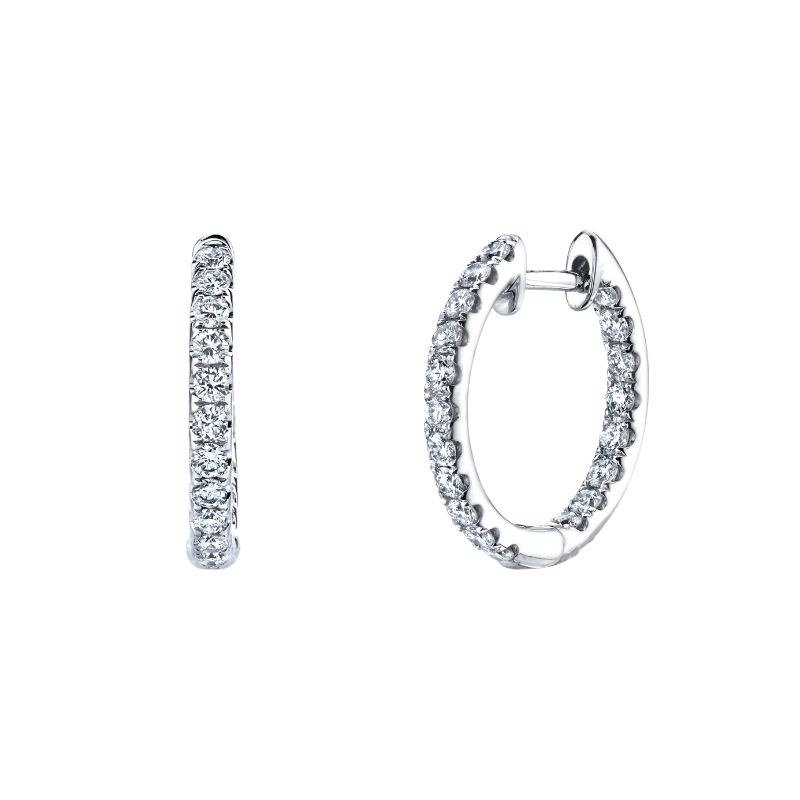 Deutsch Signature Round Wire U-Pave Hoop Earrings