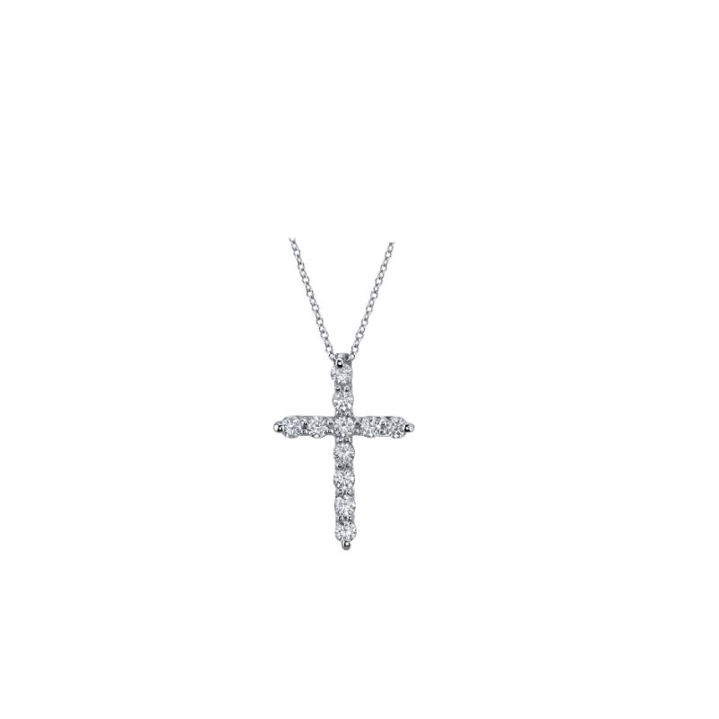 Deutsch Signature Round Diamond Shared Prong 11 Stone Cross Pendant