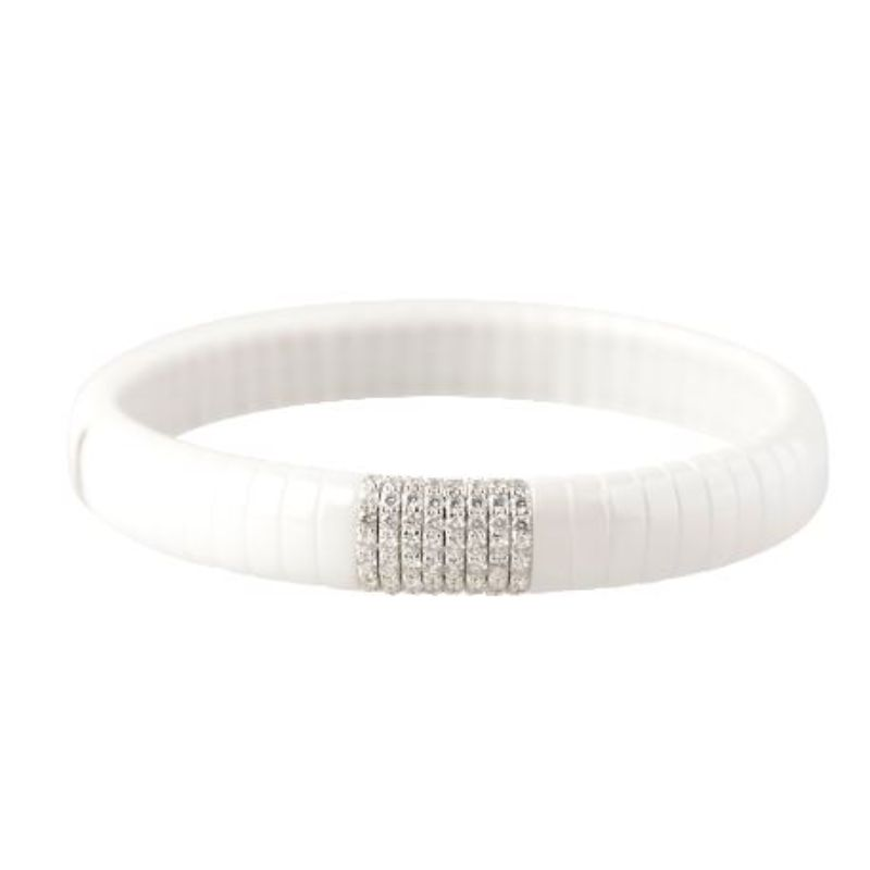 White Ceramic Stretch Bracelet with Diamonds