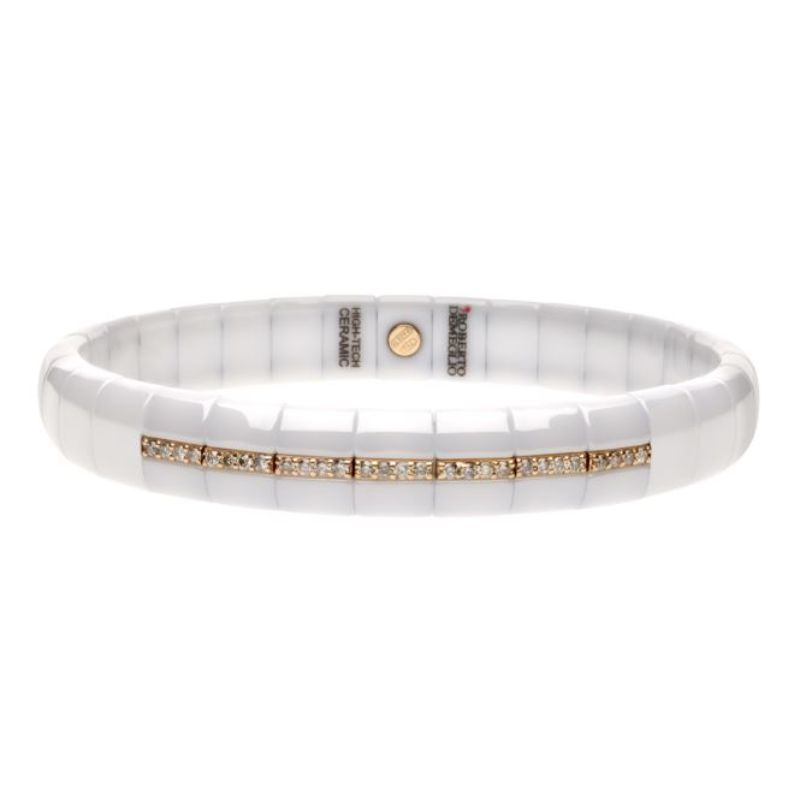 White Ceramic Stretch Bracelet with 7 Champagne Diamond Sections