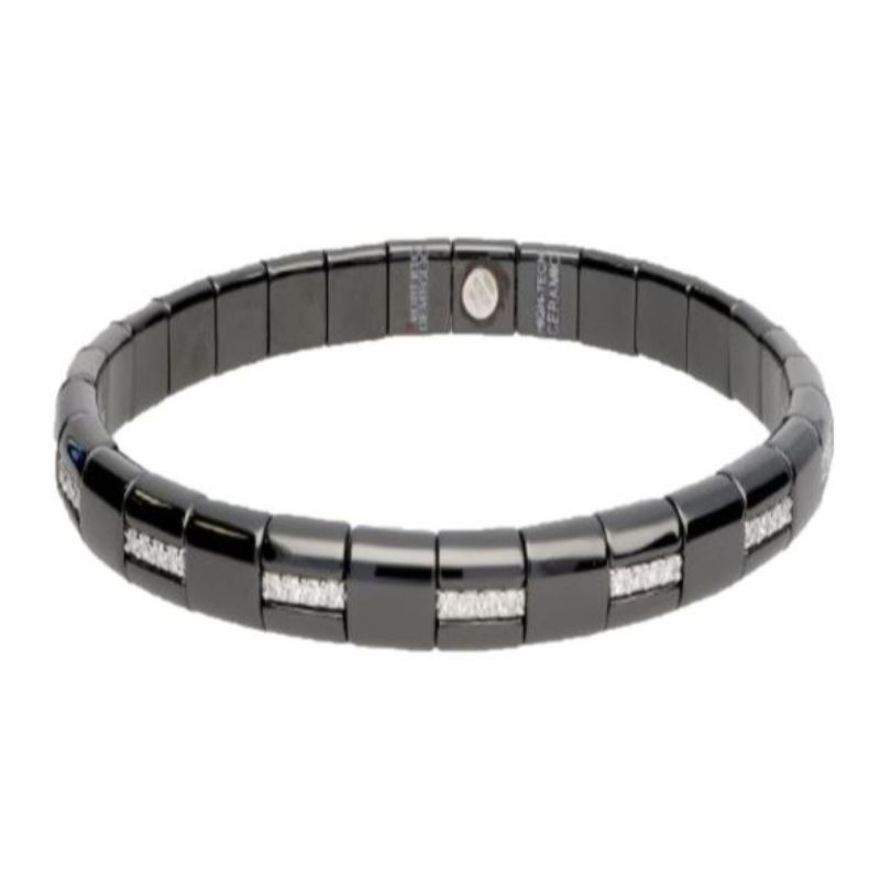 Black Ceramic Stretch Bracelet with Alternating Diamonds