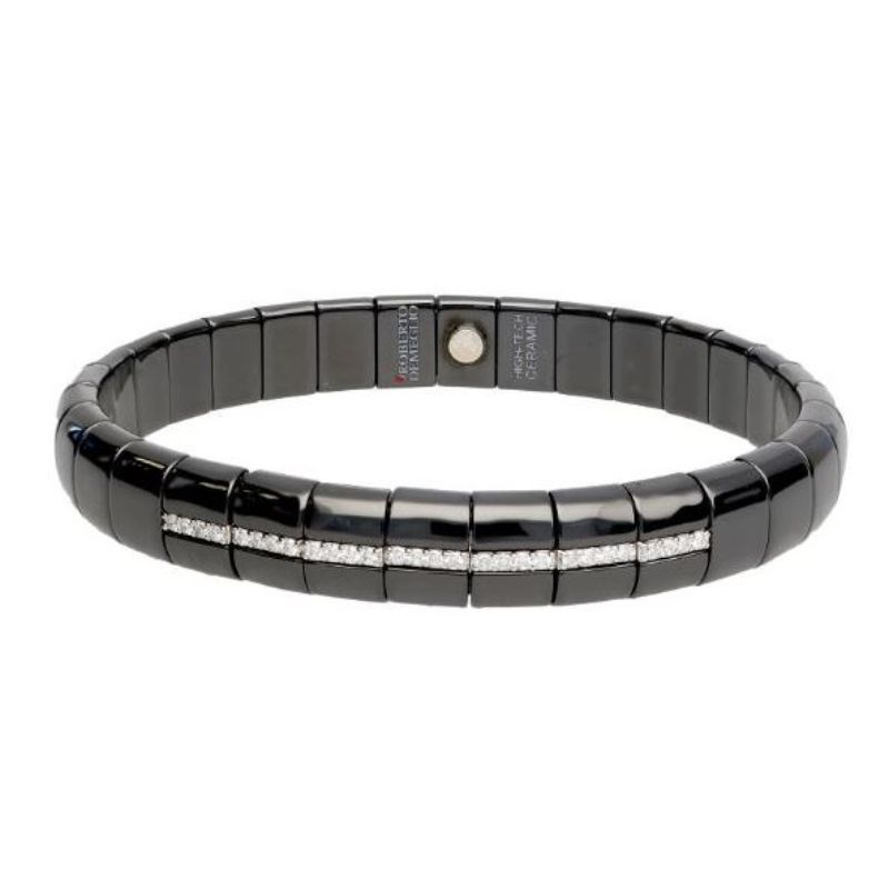 Black Ceramic Stretch Bracelet with 7 Diamond Stations