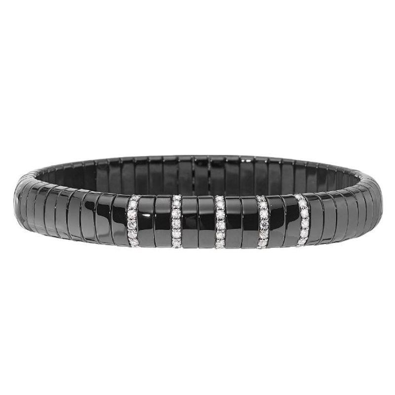Black Ceramic Stretch Bracelet with 5 Diamond Sections