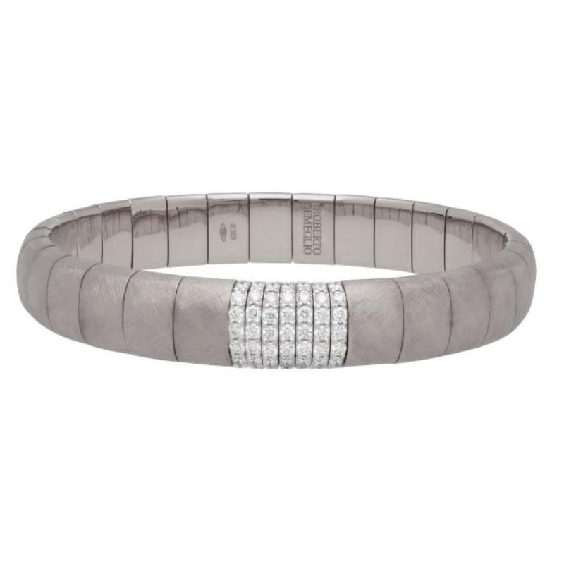 Matte 18K White Gold Stretch Bracelet with 8 Diamond Stations