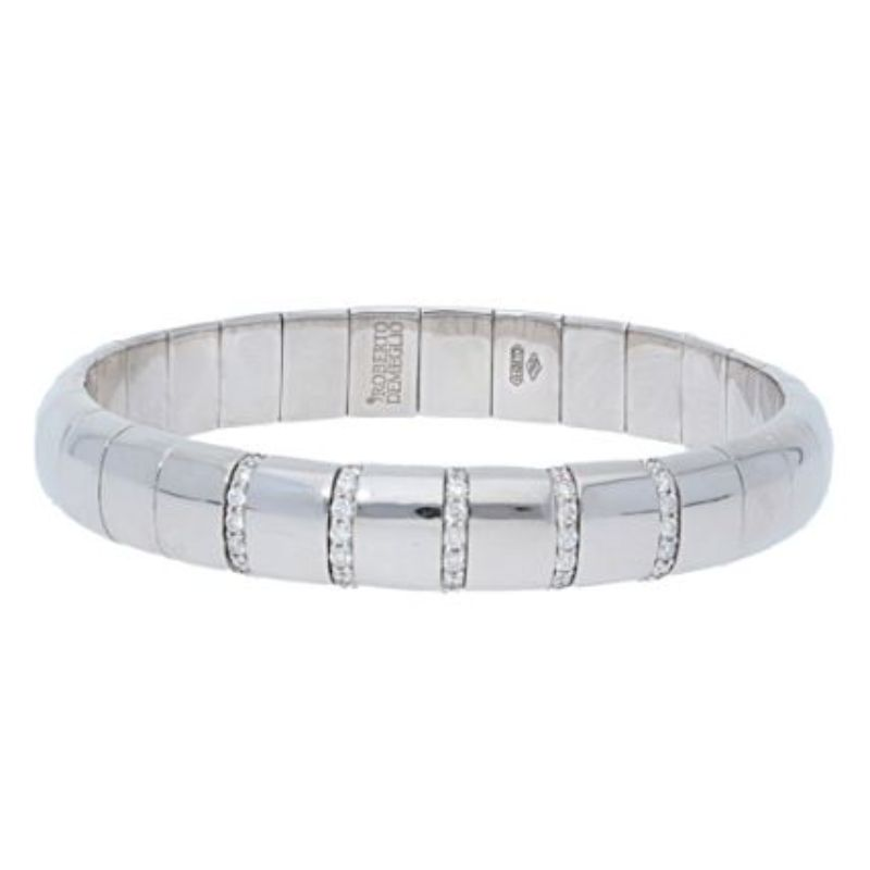 18K White Gold Stretch Bracelet with 5 Diamond Sections