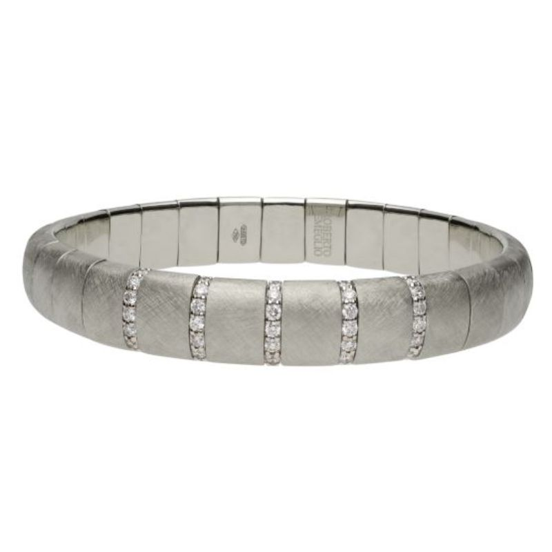 Matte 18K White Gold Stretch Bracelet with 5 Diamond Sections