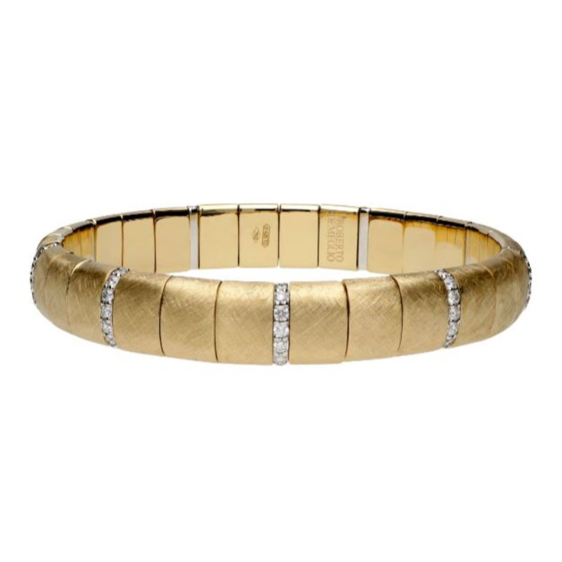 Matte 18K Yellow Gold Stretch Bracelet with Alternating Diamonds