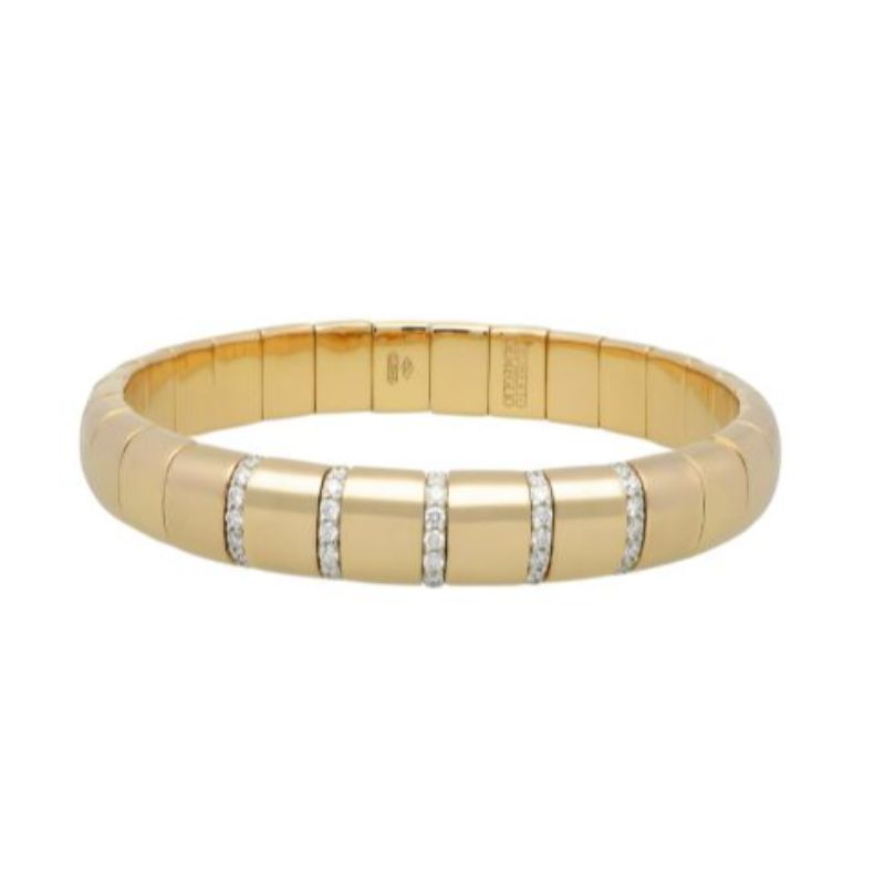 18K Yellow Gold Stretch Bracelet with 5 Diamond Sections