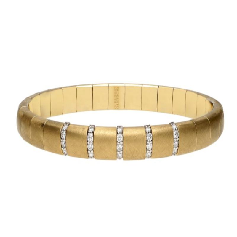 Matte 18K Yellow Gold Stretch Bracelet with 5 Diamond Sections