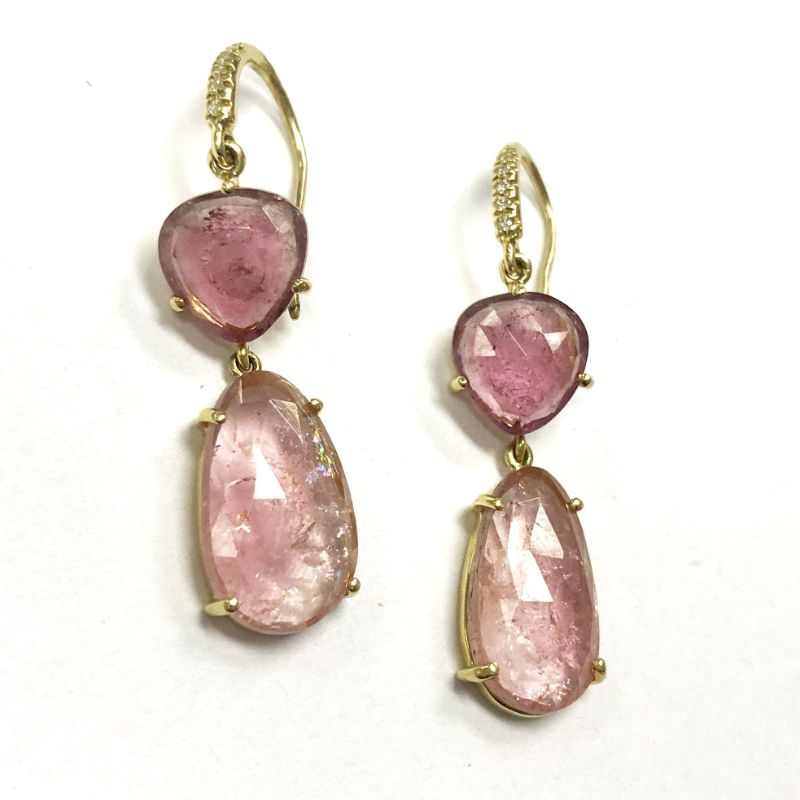 Lauren K Joyce Pink Tourmaline Two Stone Earrings