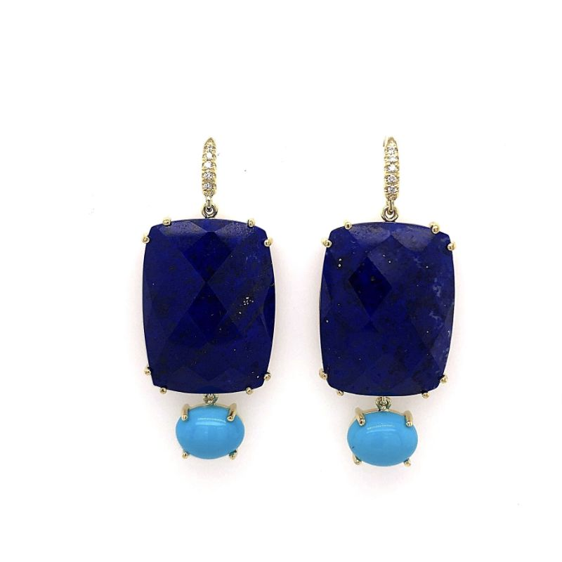 Lauren K Joyce Lapis and Turquoise Two Stone Earrings