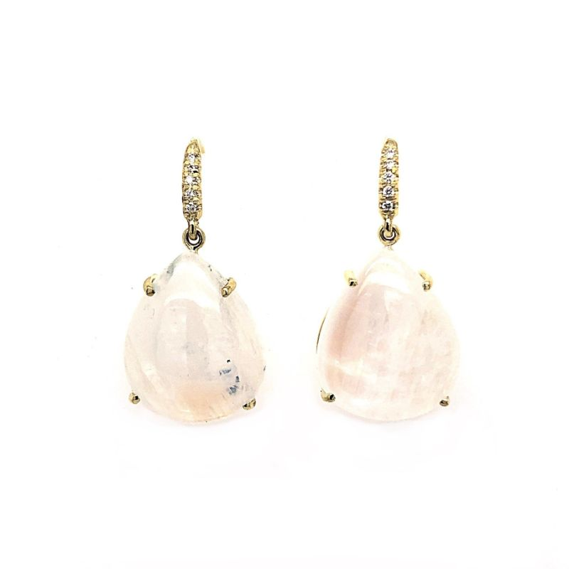 Lauren K Joyce Pear Shaped Cabochon Moonstone Earrings