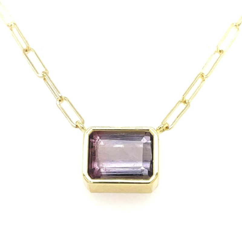 Lauren K Emerald Cut Purple Tourmaline Bea Necklace