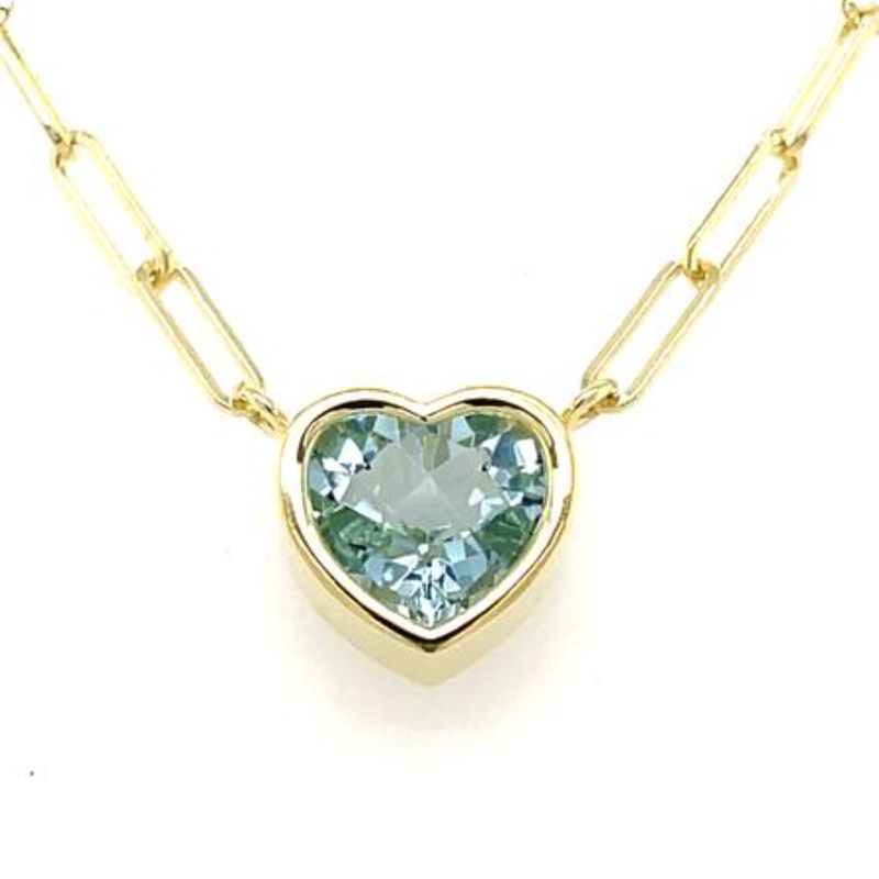 Lauren K Bea Heart Shape Aquamarine Necklace