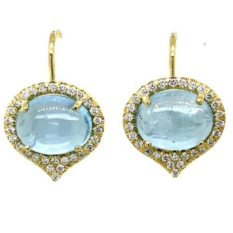 Lauren K Cabochon Aquamarine Jordan Earrings