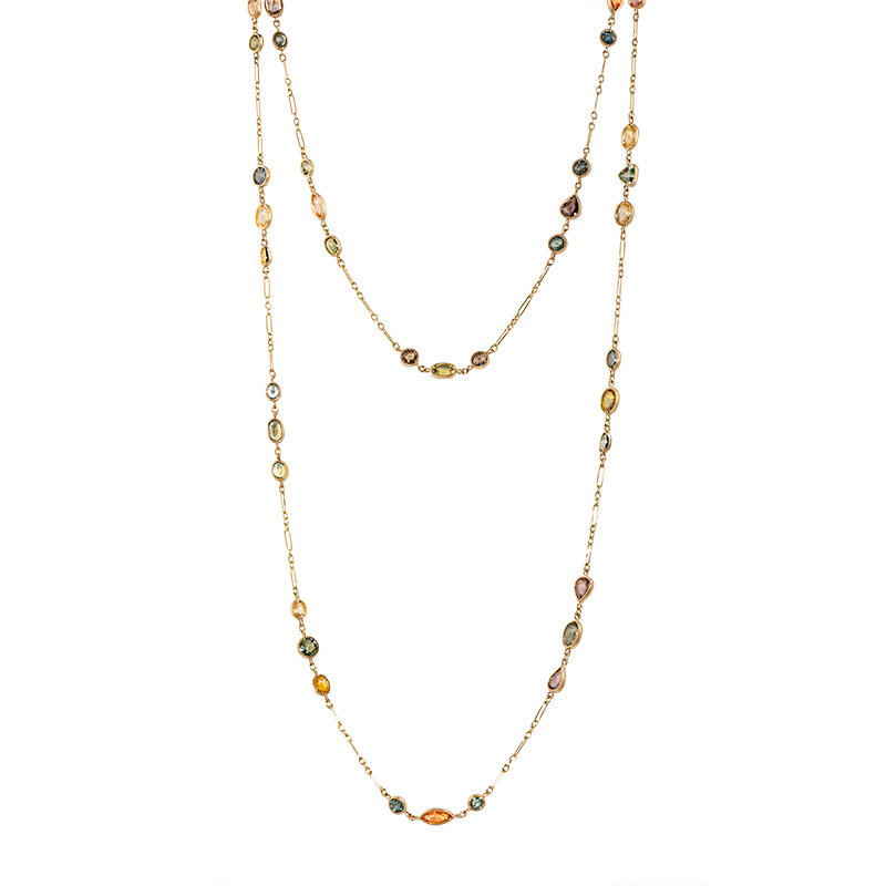 John Apel Multi Shaped Sapphire Bezel Set Necklace