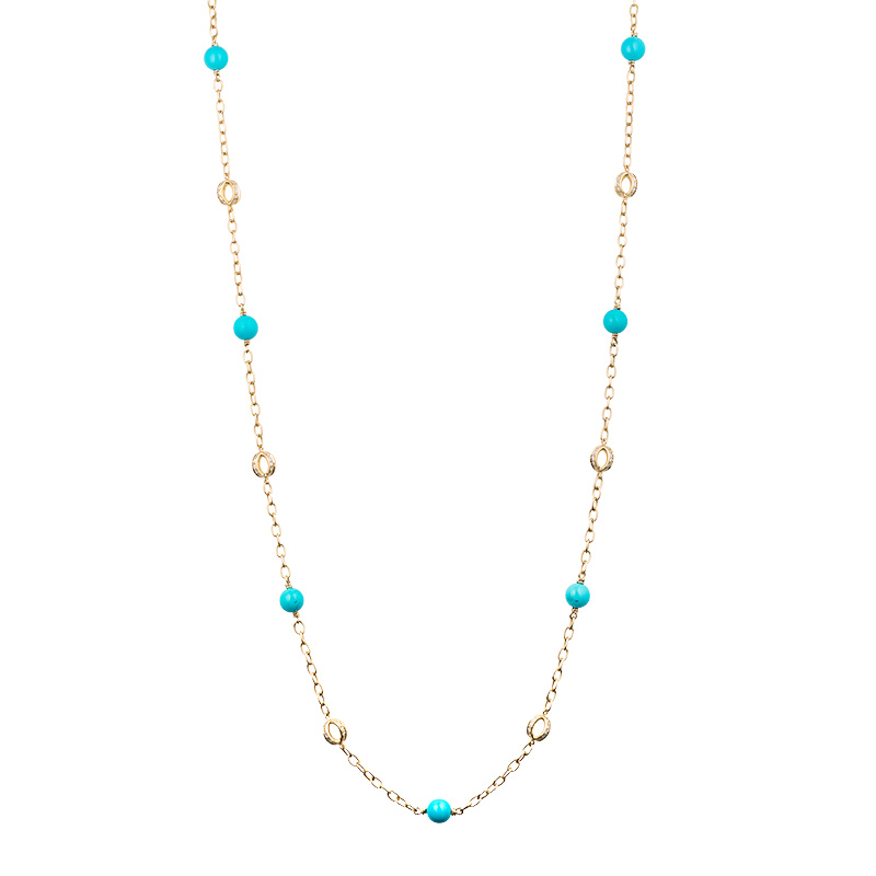 John Apel Turquoise and Diamond Necklace