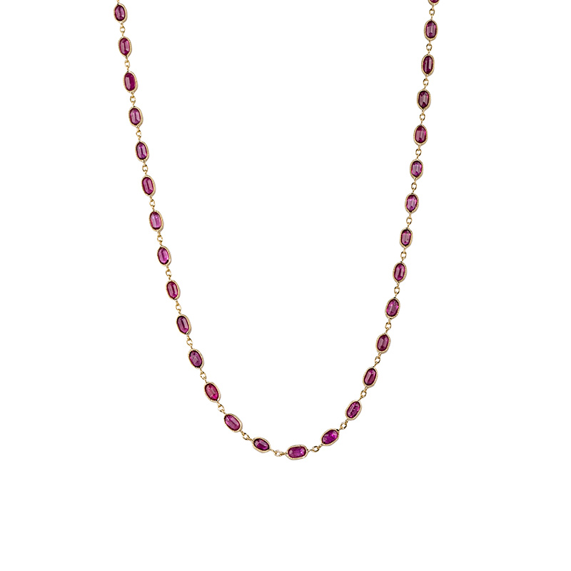 John Apel Oval Bezel Set Ruby Necklace