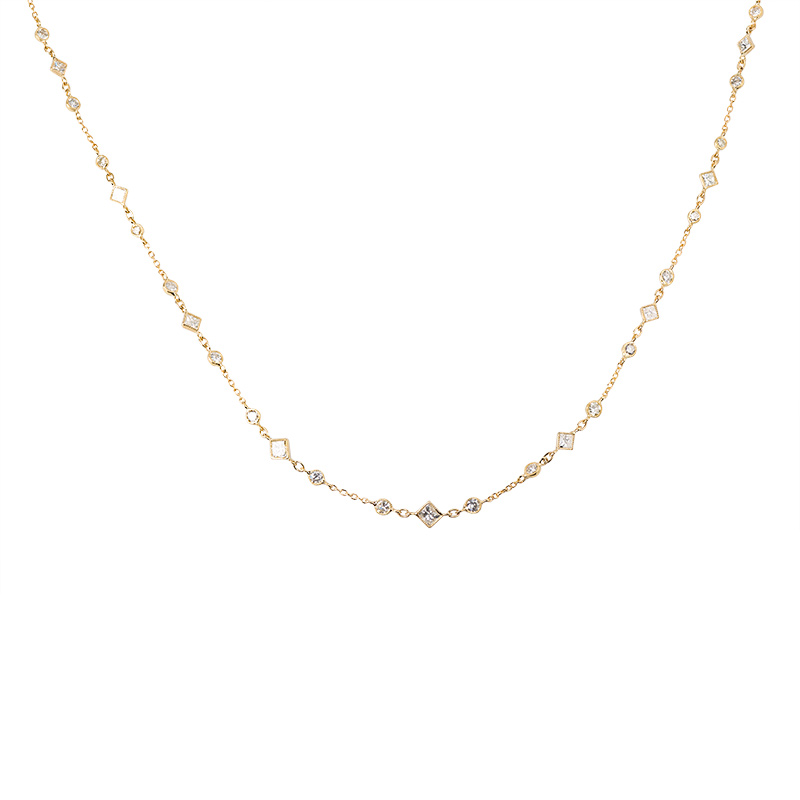 John Apel Multi Shaped Diamond Bezel Set Necklace