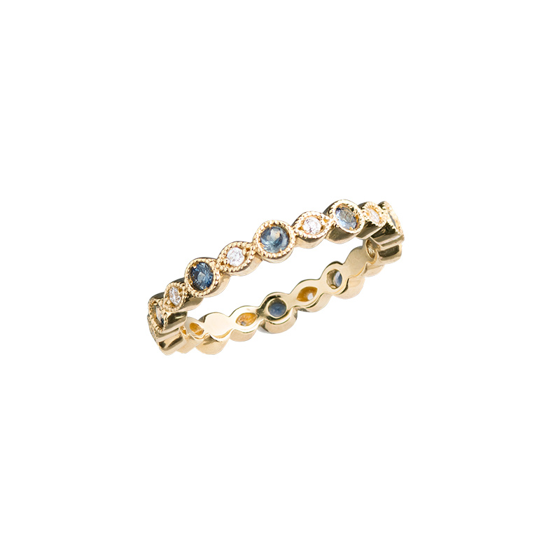 John Apel Round Diamond and Sapphire Bezel Eternity Ring