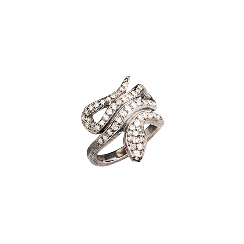 John Apel Diamond Snake Ring