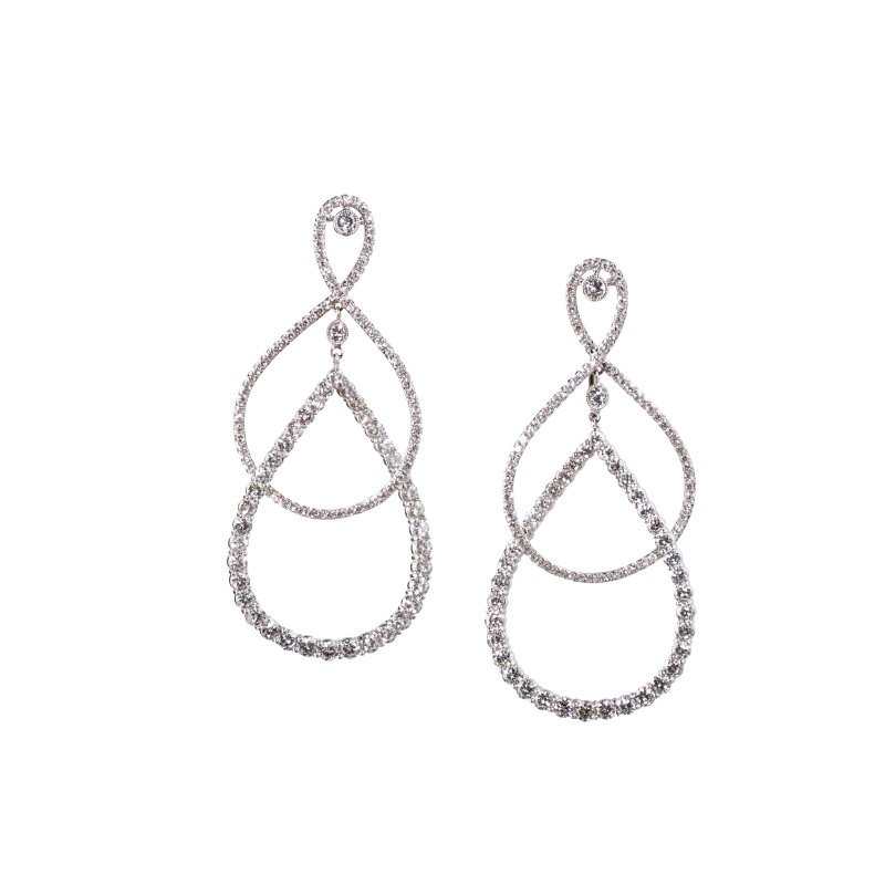 John Apel Diamond Intertwined Pear Shaped Earrings