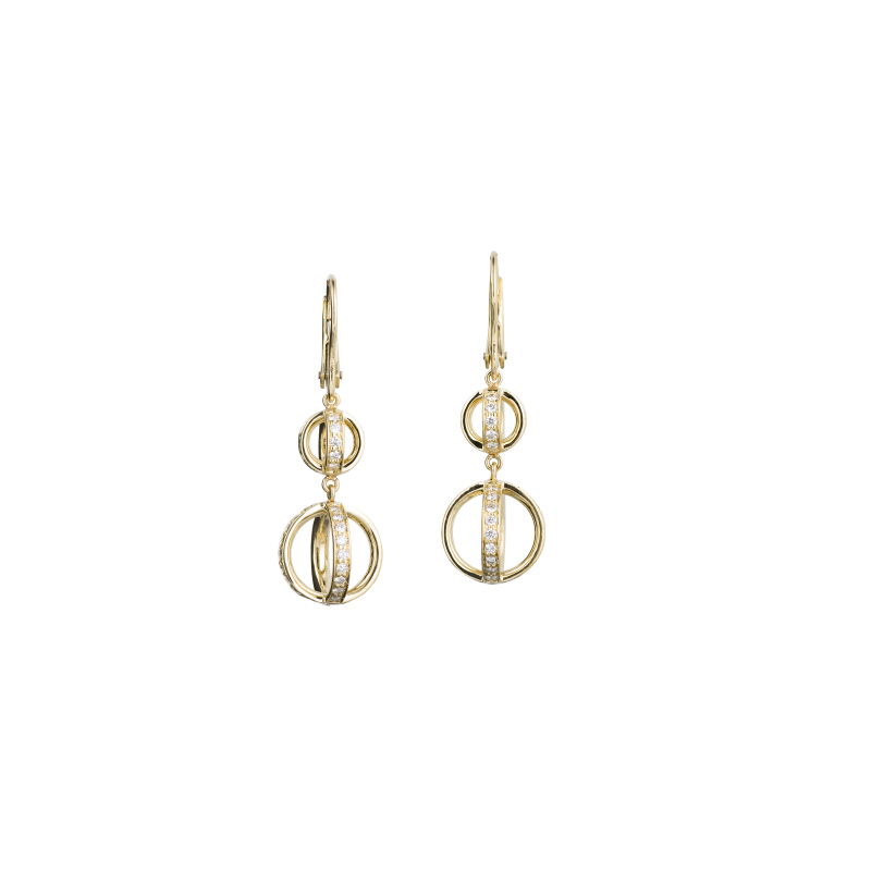 John Apel Drop Diamond Circles Earrings