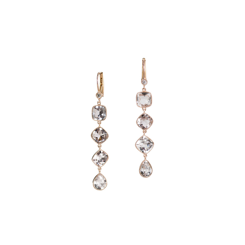 John Apel Multi Shaped Bezel Set Tourmaline Earrings