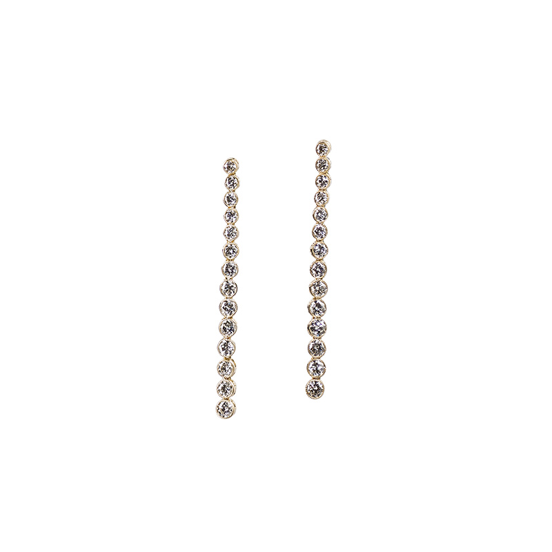John Apel Bezel Set Round Diamond Earrings
