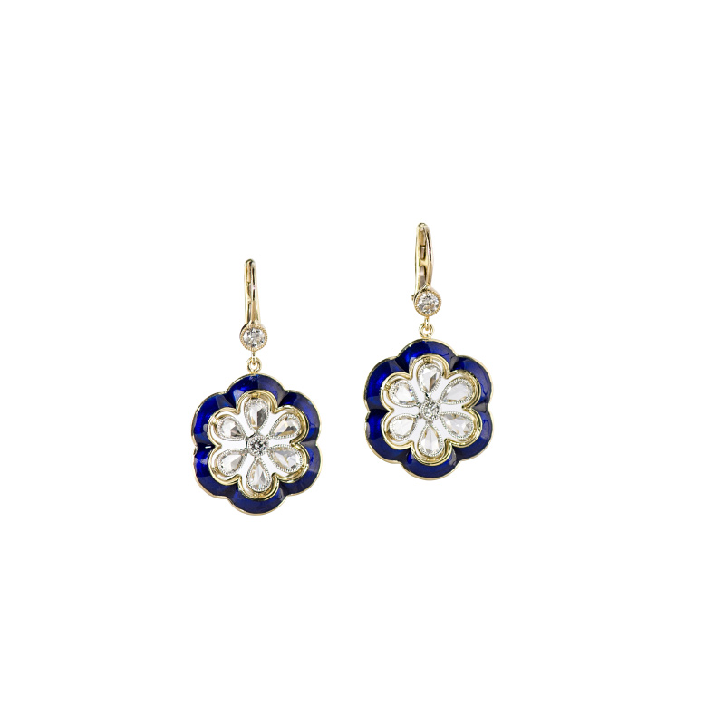 John Apel Flower Drop Diamond Earrings