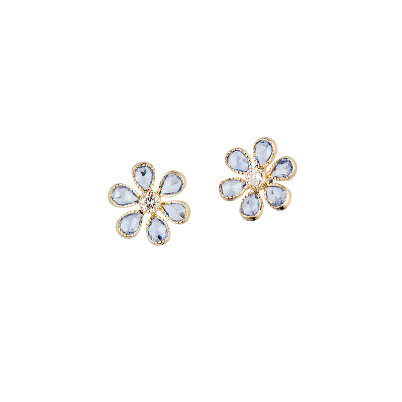 John Apel Flower Sapphire Earrings