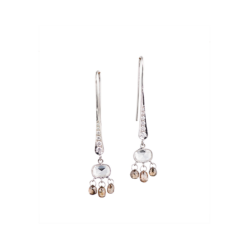 John Apel Rose Cut Diamond Drop Earrings