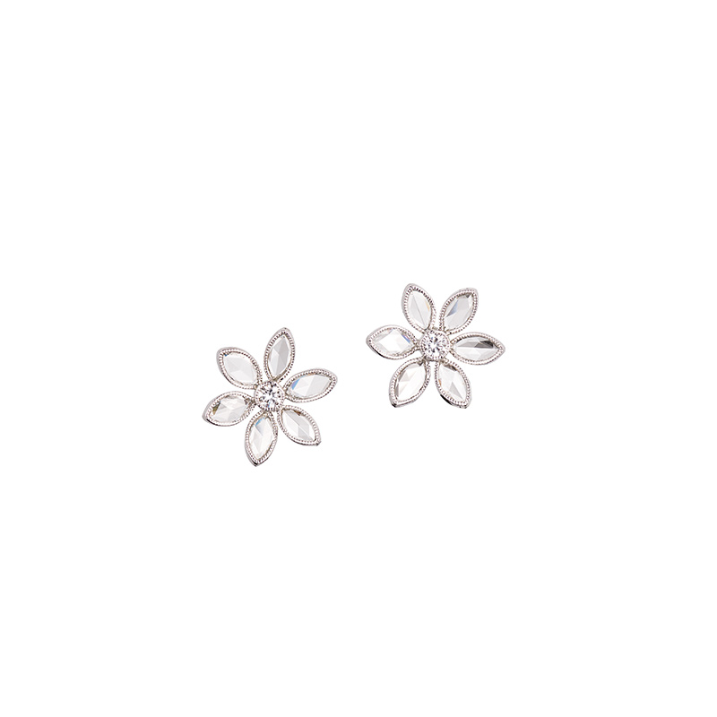 John Apel Rose Cut Diamond Flower Earrings