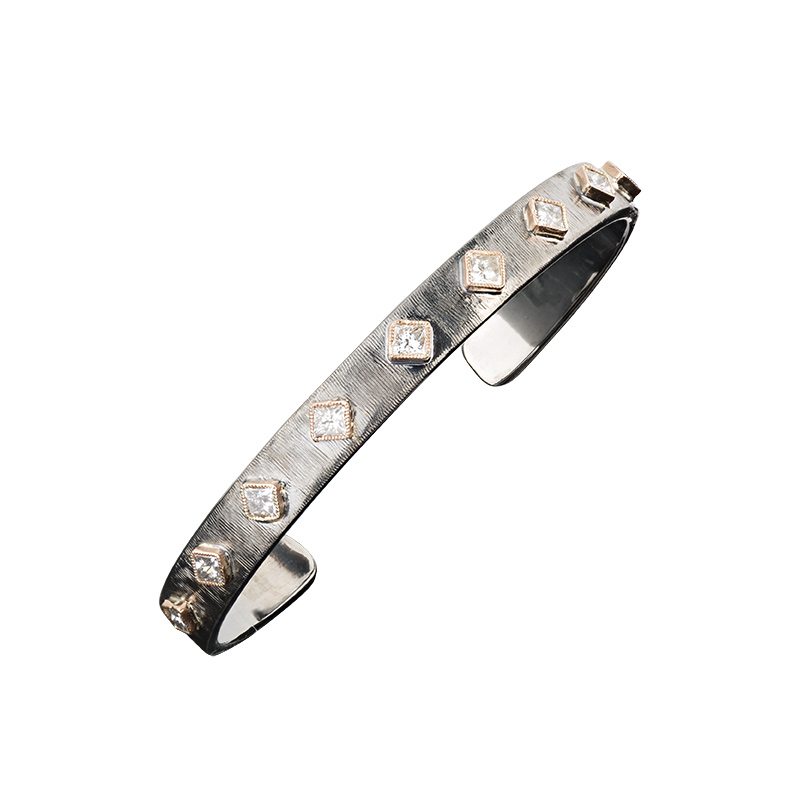 John Apel Princess Diamond Skinny Cuff Bracelet