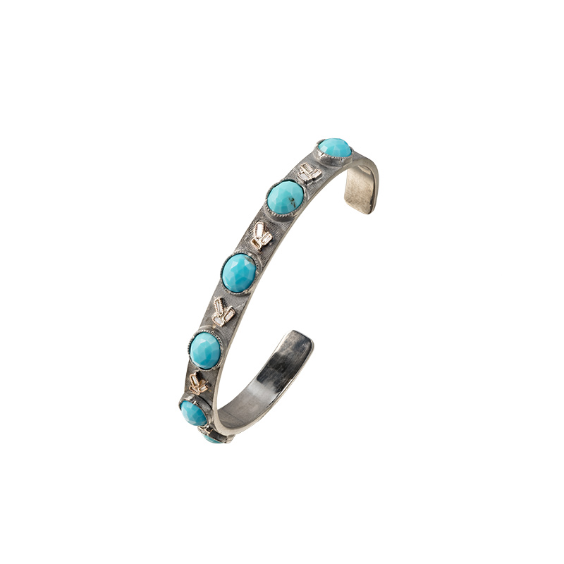 John Apel Turquoise and Diamond Cuff Bracelet