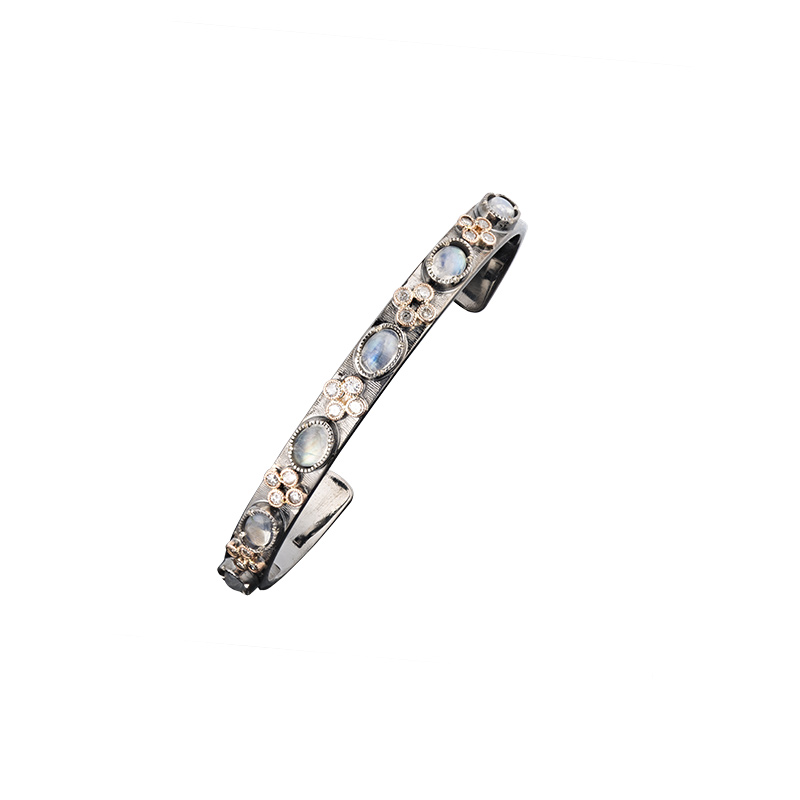 John Apel Moonstone and Diamond Cuff Bracelet
