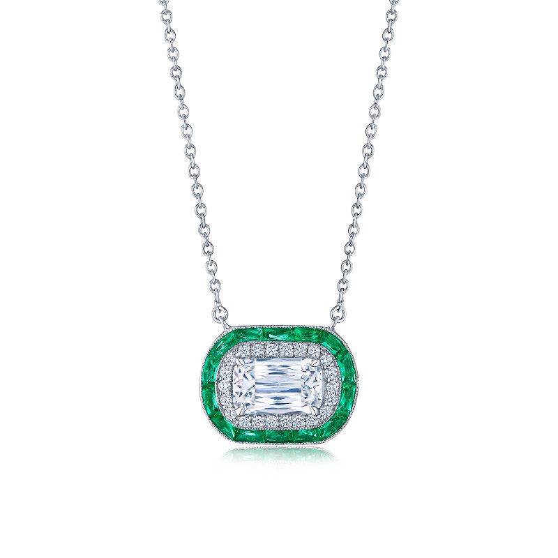 Kwiat Ashoka Diamond and Emerald Halo Pendant